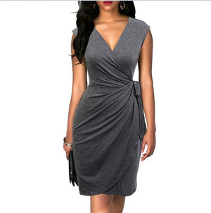 s Elegant Classic Dress Polka Dots Draped Women Dresses Cocktail Party
