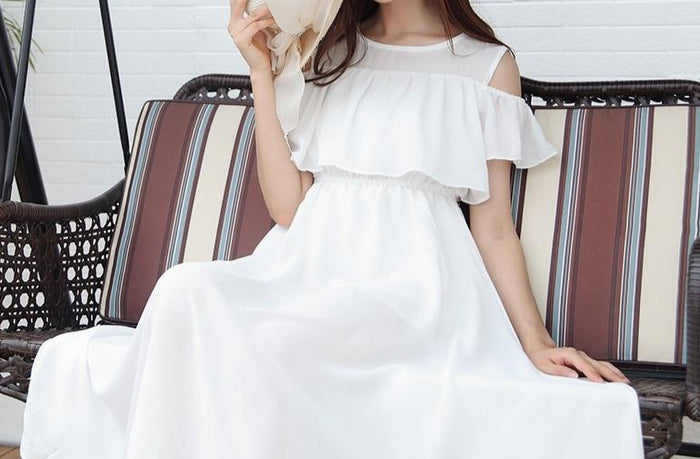 Summer Women Chiffon Boho Beach Dress Female Slim Off The Shoulder High Waist Strapless Dress White Long Dresses Sundress