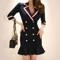 Woman Blazer Formal Dress For Work Autumn Double-breasted Ruffles Three Quarter Sleeve Navy Blue bodycon Mermaid Mini Dresses