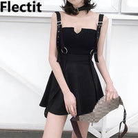 Flectit Goth Punk Style Little Black Dress with Buckle Straps O Ring