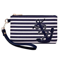 Navy Blue Stripe Nautical Anchor Bags for Women 2018 Purse Wristlet