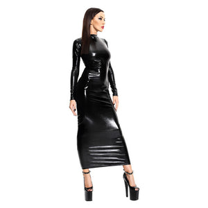 New Sexy Black Maxi Dresses For Women PVC Hollow Out Back