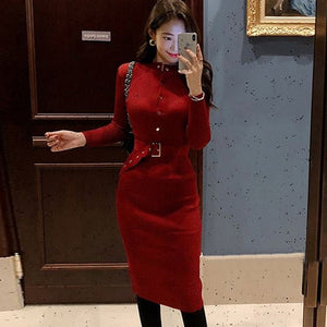 Elegant Single Breasted Women Sweater Dress O-neck Full Sleeve Sashes Stretch Vestidos Female Knee-length Knitted Dress 2018