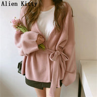 Alien Kitty Fashion Autumn Winter Sweater Sexy Women Cardigans Knitted Sashes