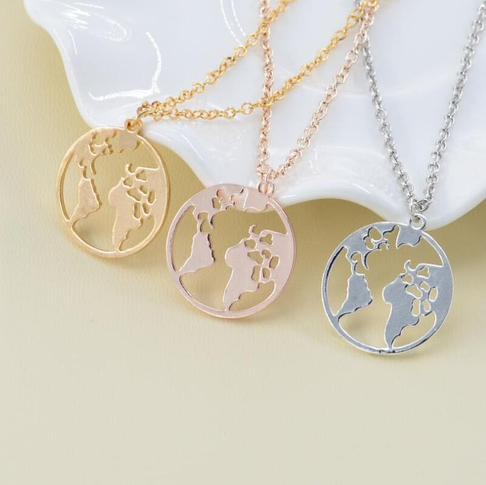 Rinhoo Vintage Origami World Map Necklace Women Geometric Necklace