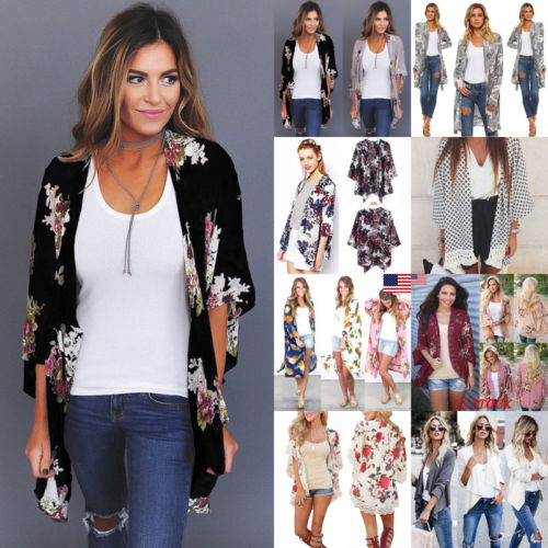 UK Plus Size Women Holiday Lace Loose print Coat shirt Floral Kimono Cardigan Ladies Summer Tops jacket