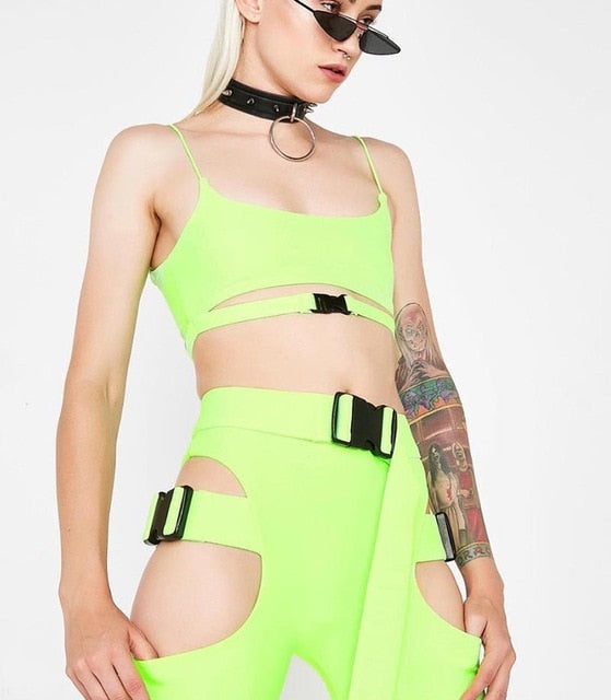 Beyprern Hot Girl Cut Out Neon Buckle Shorts Set Women Tight Buckle Festival Suits Two