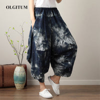 Summer Harem Pants Casual Loose Beach Women Pants Seven-point wide-leg pants Boho Cotton linen Comfy Pants Mandala One Size 2019