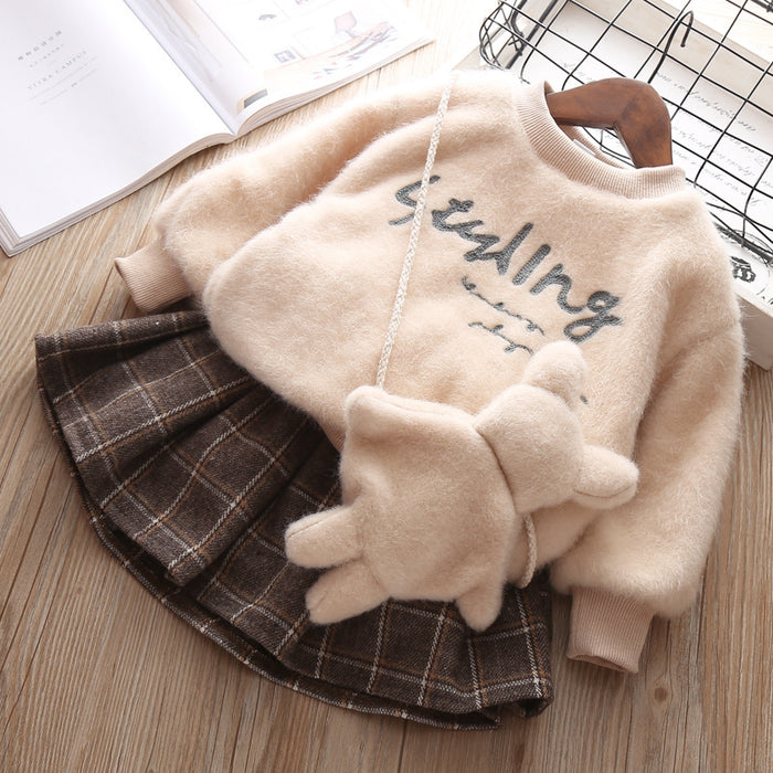 2018 Top Fashion Sale Letter Full Vestido Infantil Baby Dress Girl's Plush Maomao Hedge Fleece Dress Qiu Dong Outfit Two-piece