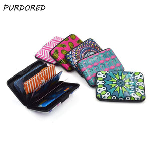 PURDORED 1 pc Flamingo Card Holder Unisex Aluminum Business Card Holder Rfid Card Wallet Case tarjetero mujer Dropshipping