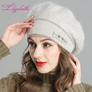 Liliyabaihe New Style Women's Winter Beret Crocheted Angora Wool Berets Bicolour Mixing Hat with Double Heated Hat Cap