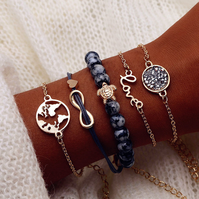 FAMSHIN Bohemian Turtle Charm Bracelets Bangles For Women Fashion Gold