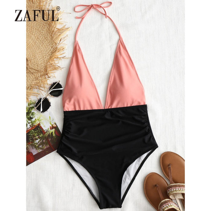 ZAFUL One Piece Swimwear Women Two Tone Plunge One Piece High Waisted Swimsuit Halter Patchwork Orange Color Block Bathing Suit