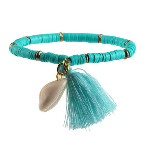 Hot Sell Colorful Tassel And Shell Charms Rubber Beaded Bracelet Femme Handmade