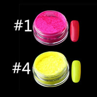12colors/set Neon Pigment Nail Powder Dust Ombre Nail Glitter Gradient Glitter Iridescent