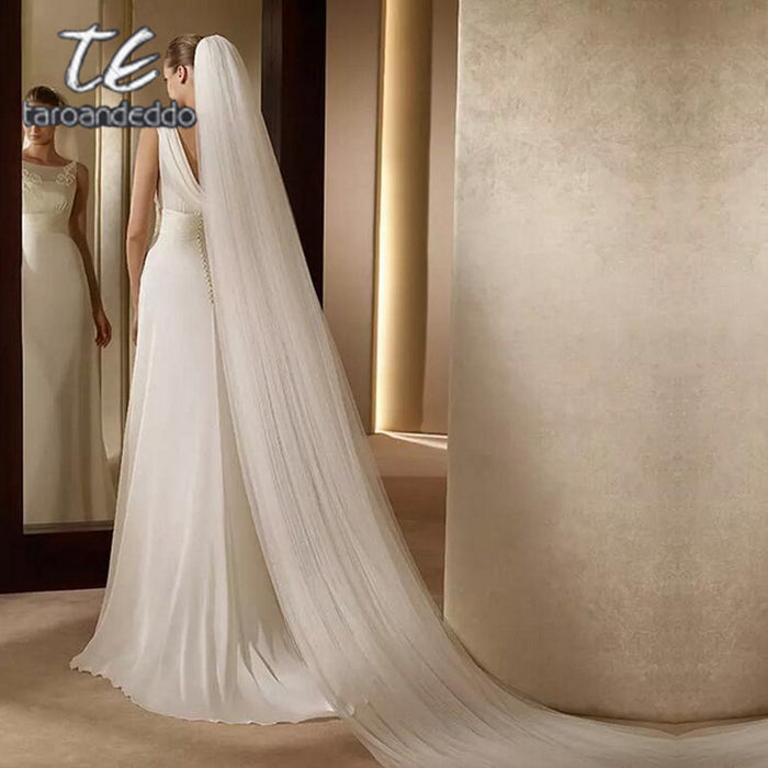 White/Ivory 3M White/Ivory Wedding Veil Two-layer Long Bridal Veil Head
