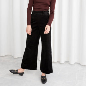 Bella Philosophy Autumn Winter Corduroy Wide Leg Pants Office Trousers Casual flat