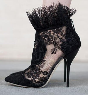 Elegant Women Black Lace Ankle Bootie Flower High Heel Stiletto Pumps Ladies Party
