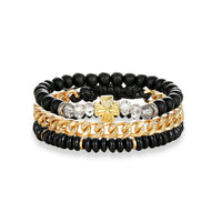 3PCS Multi-layer Leather Beaded Charm Bracelet Women Stainless Steel Link Chain
