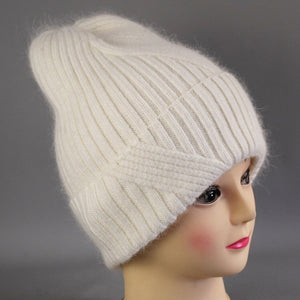 [Rancyword] Winter Hats For Women Wool Knitted Angora Hat Beanies Female Warm Rabbit Fur Skullies