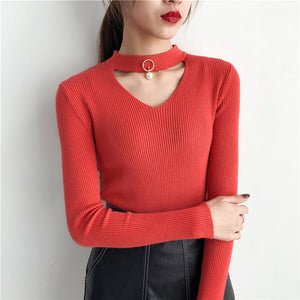 Korean Sweaters For Women Basic High Elastic Knitted Sweater Woman Sexy V-Neck Pullovers Long Sleeve Slim Pull Femme 2018 GKFNMT
