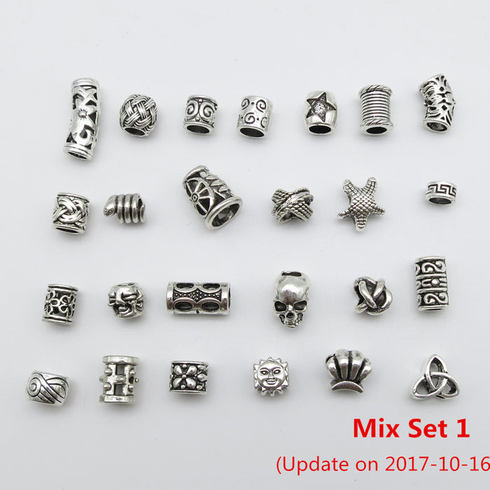 25Pcs/Lot mix metal set for hair braid dread dreadlock beads tube rings Jewelry