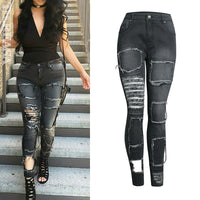 Vintage Hole Jeans For Women Ripped Black Jeans Boyfriend Denim Pants High Street Destroyed Jeans