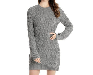 Autumn Winter Thick Warm Sweater Dress Women Sexy O-neck Dress Female Long Sleeve Knitted Dress Femme Vestidos Plus size