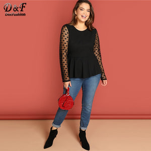 Dotfashion Plus Size Black Mesh Sleeve Peplum Womens Tops And Blouses Elegant Long Sleeve Clothing