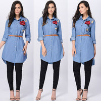 Free Ostrich Rose Embroidered Women Long Sleeve Collared Long Shirt Top Turn-down Collar Blue Shirts blusas mujer de moda C2735