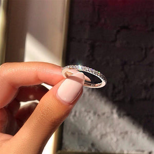 Hot couple ring women single row drill ring ring rose gold jewelry