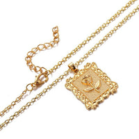 IPARAM Gold Alloy Rose Square Pendant Necklace Women Retro Geometric Coin Chain Necklace 2019 Bohemian Fashion Party Jewelry