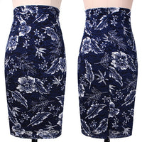 Vfemage Womens Elegant Floral Print Solid Color Work Business Office Casual Slim Fitted Bodycon High Waist Pencil Skirt 667