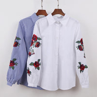 Women White Floral Embroidered Blouse And Tops Long Sleeve