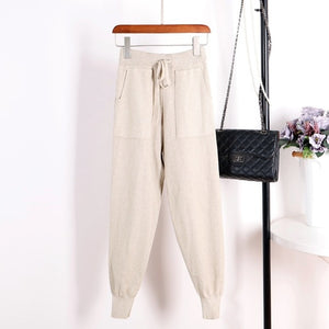 GIGOGOU Women Casual Harem Pants Loose Trousers For Women Knitted Pants Autumn Winter Solid Color Sweater Trousers With Pockets