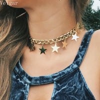 Gold Silver Color Thick Chain Stars Tassel Choker Necklace 2018 Fashion Jewellery