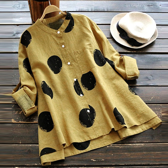 ZANZEA 2019 Button Down Shirt Stylish Women's Blouse Vintage Cotton Linen