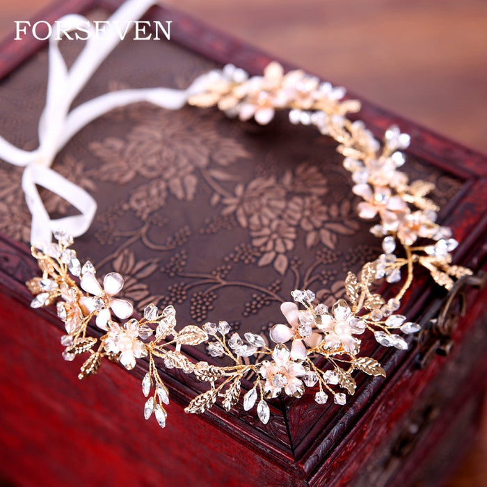 Bride Flower Headbands Wedding Hair Accessories Hair Vine Bridal Headpiece Crystal Hairband Golden Leaf Tiaras Headbands