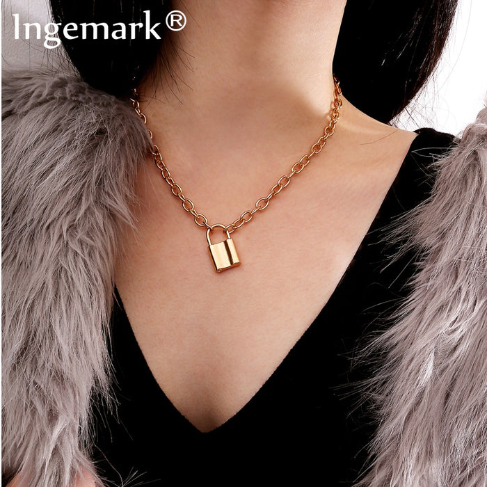Ingemark Vintage Lover's Lock Pendant Choker Necklace Steampunk Clavicle Golden Chain