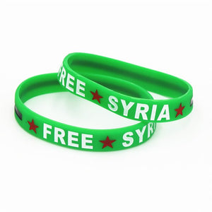 1PC Hot Sale Fashion Free Syria Silicone Wristband Filled In Colour Red Star