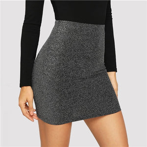 Grey High Waist Metallic Bodycon Mini Skirt Women 2019