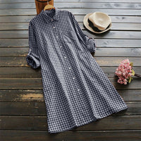 Womens Checked Shirt Dress ZANZEA 2019 Vintage Short Vestido Robe