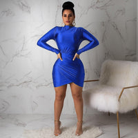 Women Casual Bandage Party Spring Dress Long Sleeve Bodycon Mini Dress Vestidos