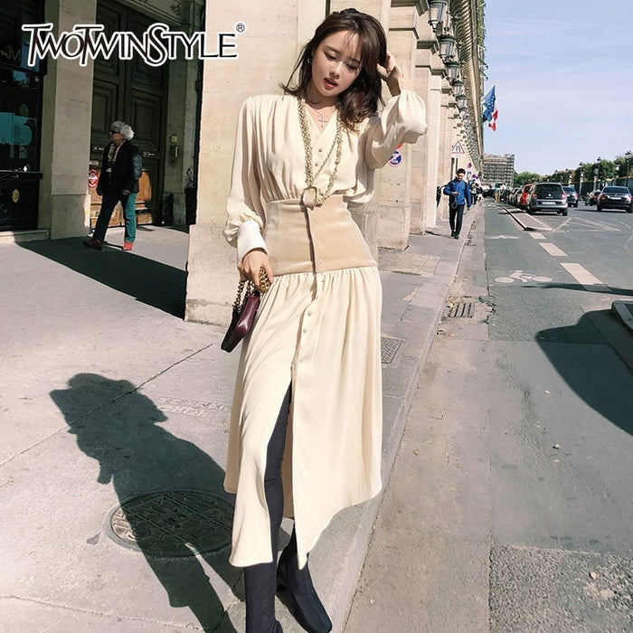 Dress Long Sleeve V Neck Tunic High Waist Midi Shirt Dresses Women Autumn