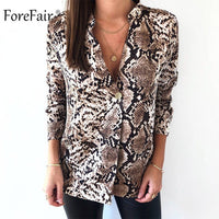 Forefair Snake Animal Print Blouse and Shirt Long Sleeve Casual Plus Size V Neck