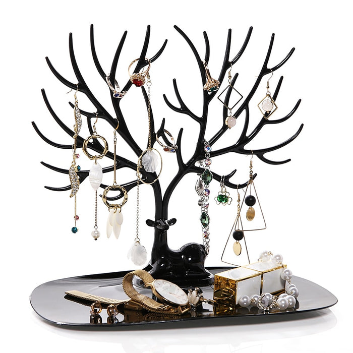 ANFEI Little Deer Earrings Necklace Ring Pendant Bracelet Jewelry Display Stand Tray Tree Storage Racks Organizer Holder H39