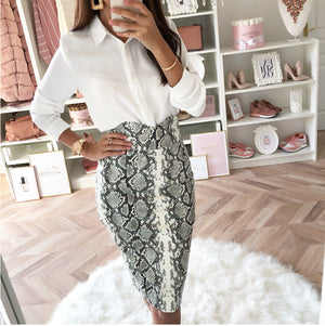 New Women Snake Skin Bodycon Skirt Female High Waist Elegant Sexy snakeskin  Pencil Skirts Party Club Cocktail wear slim skirt