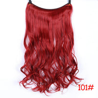 WTB Synthetic Hair Women Invisible Fish Wire  Extensions Dark Brown light brown red Long High Temperature Fiber