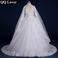 QQ Lover Luxury Vintage Full Sleeves Lace Wedding Dress 2019