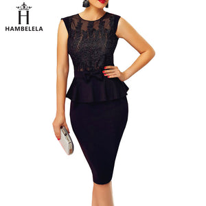 Black Dress Autumn Peplum Sequin Bandage Dress Elegant Office Sexy